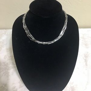 Cookie Lee 6 Strands Silver Tone Choker Necklace